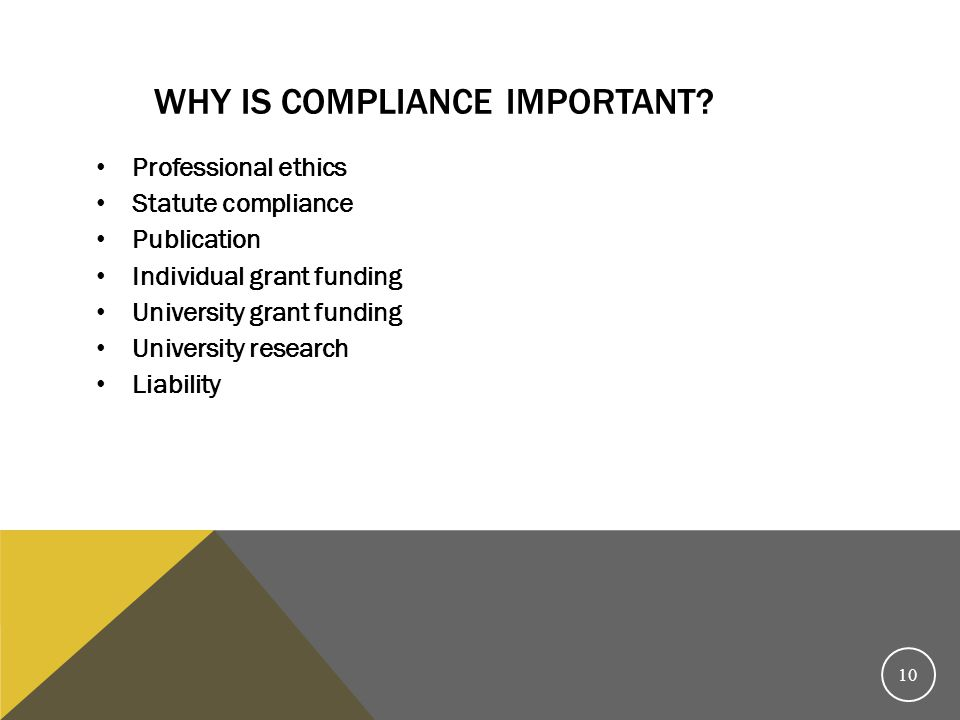 Why is compliance important