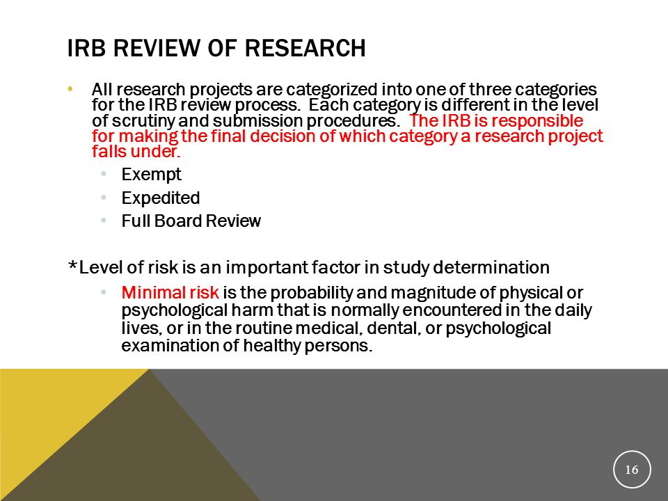 IRB Review of Research