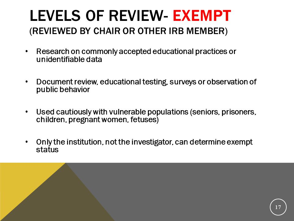 Levels of review- Exempt (reviewed by Chair or other IRB member)