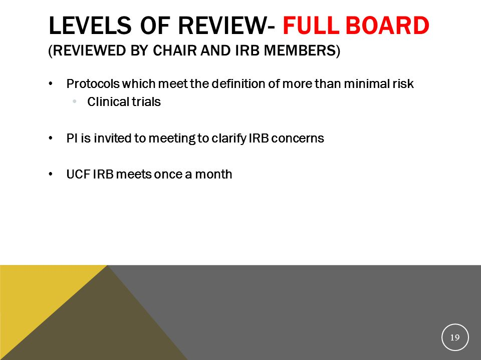 Levels of review- Full Board (reviewed by Chair AND IRB members)
