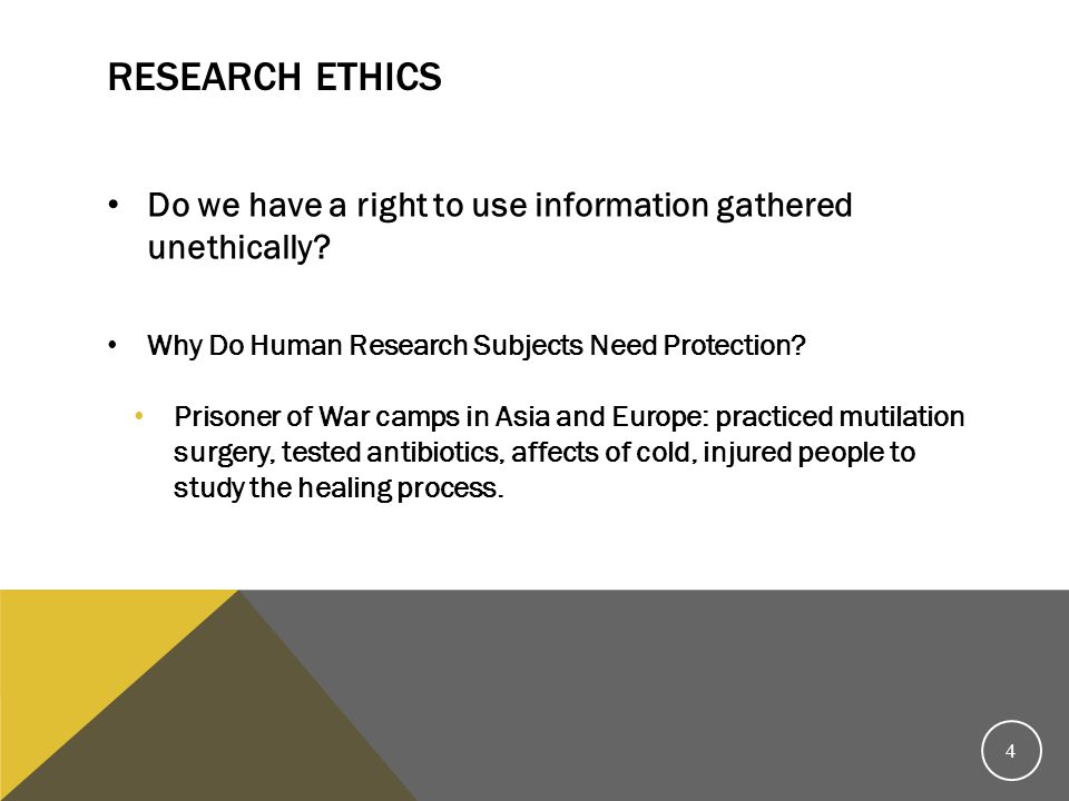 Research Ethics Do we have a right to use information gathered unethically Why Do Human Research Subjects Need Protection