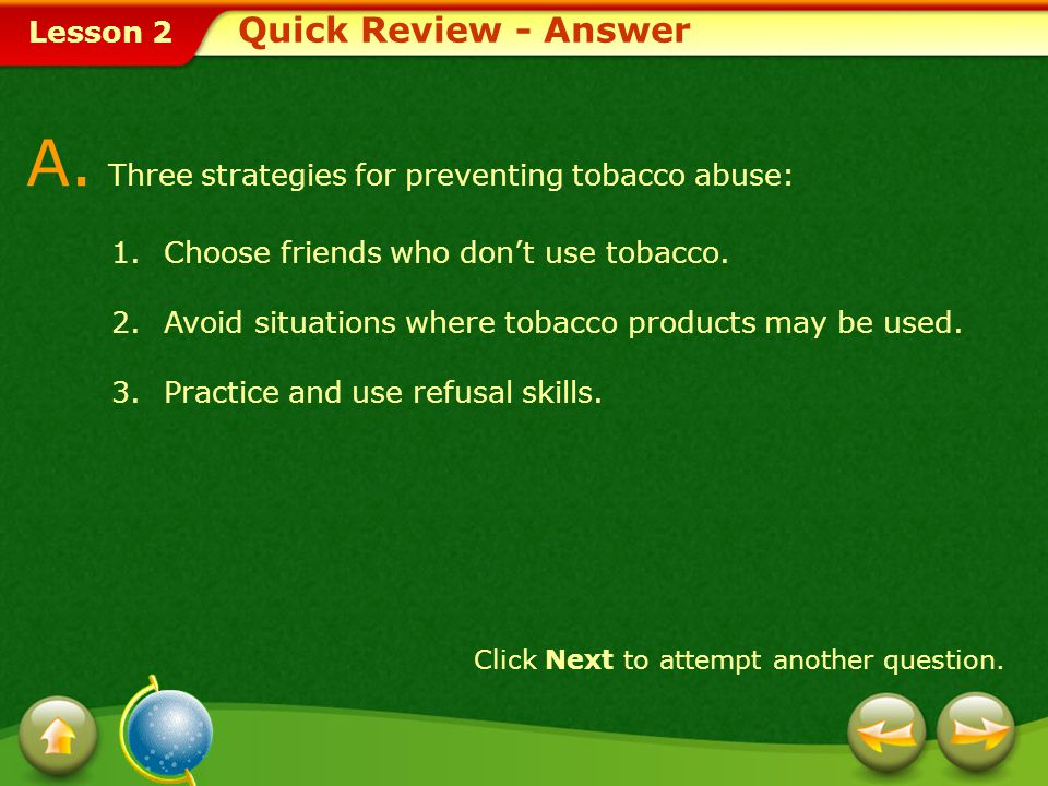 A. Three strategies for preventing tobacco abuse: