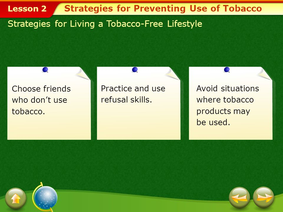 Strategies for Preventing Use of Tobacco
