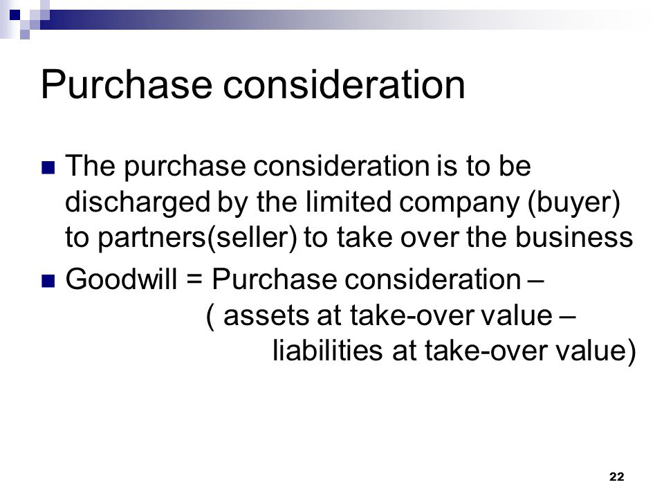 Purchase consideration
