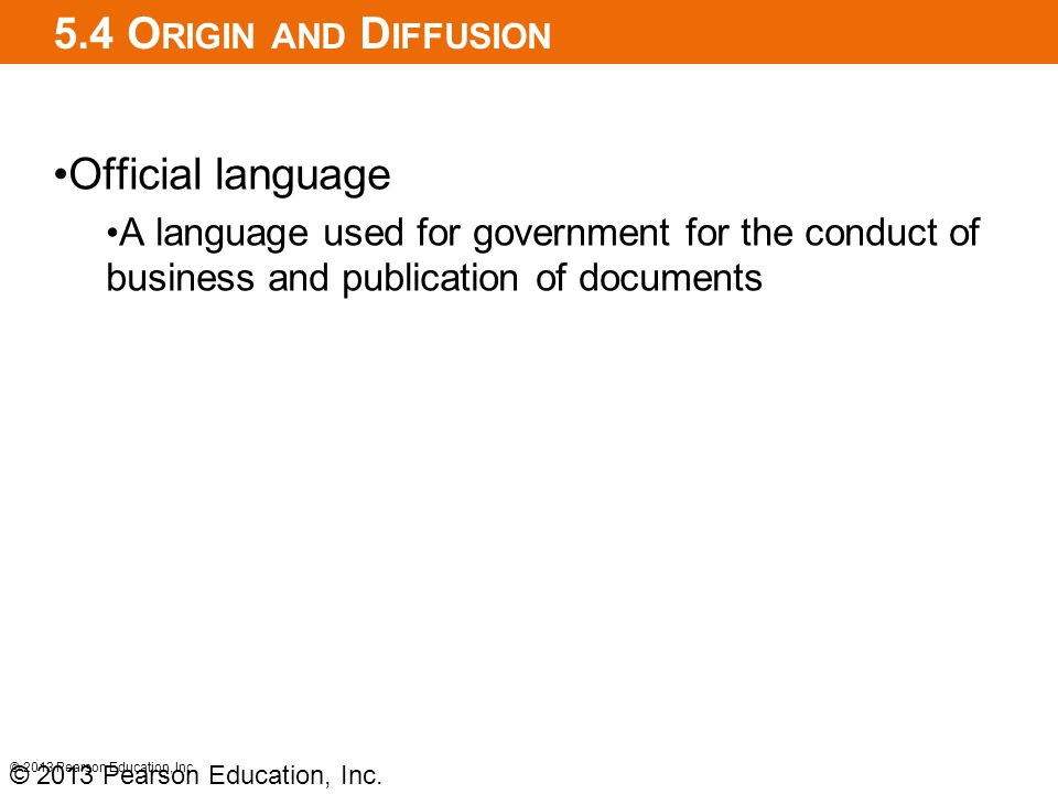 5.4 Origin and Diffusion Official language