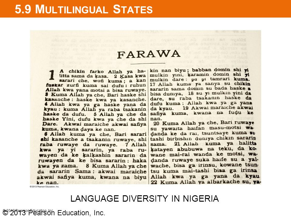 5.9 Multilingual States LANGUAGE DIVERSITY IN NIGERIA