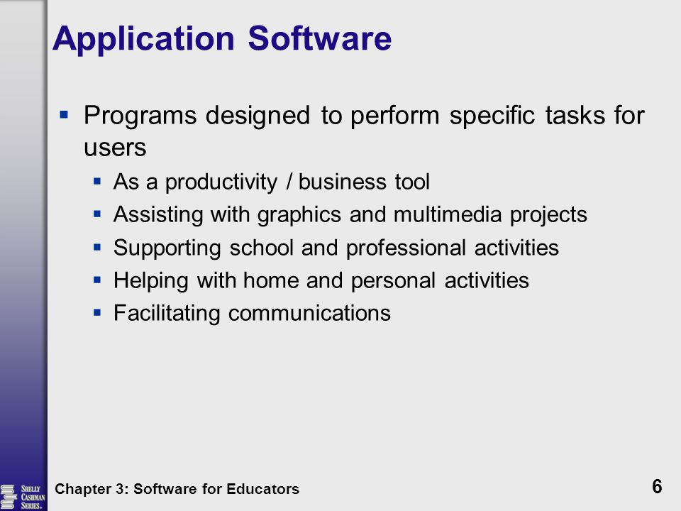 Application Software Programs designed to perform specific tasks for users. As a productivity / business tool.