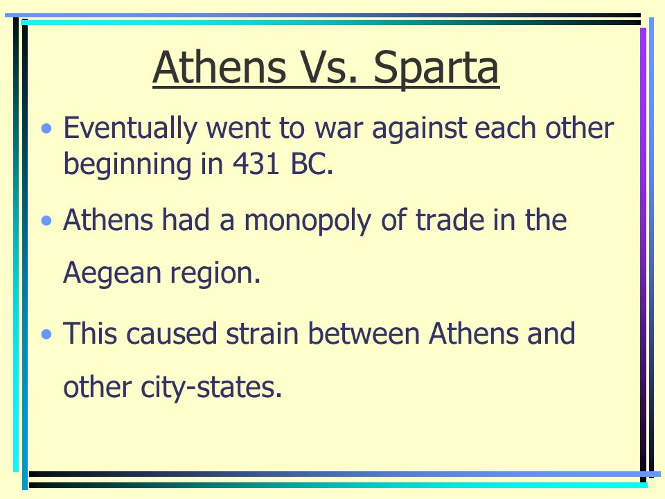the contrast between athens and spartas area of advancements The differences between athens and sparta is, athens woman were always home doing ton of house work, and spartan woman were trained to be tough so athens was free, sparta had slaves athens had a volunteer military, spartans had a full time army athens favoured logic, strategy, and the like.
