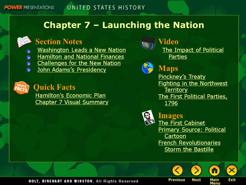 Chapter 7 – Launching the Nation