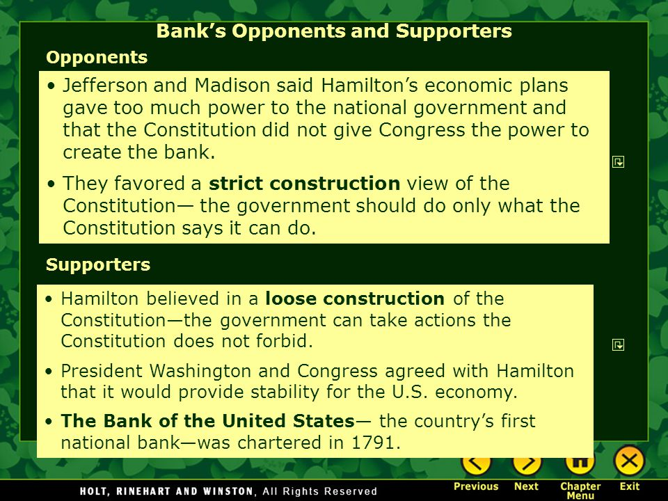 Bank's Opponents and Supporters