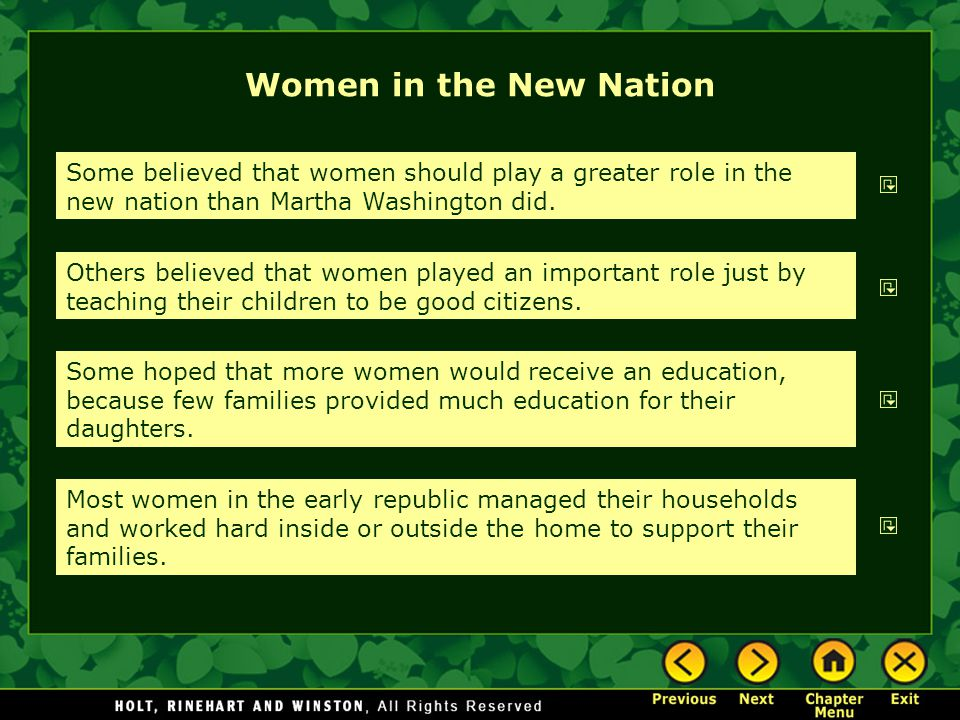 Women in the New Nation Some believed that women should play a greater role in the new nation than Martha Washington did.