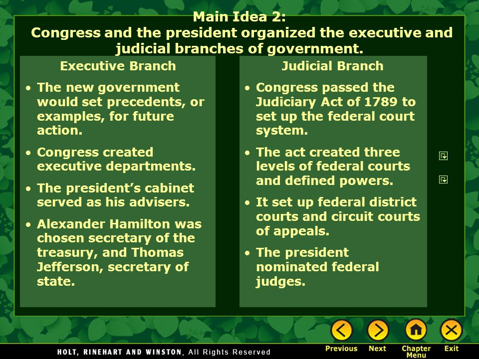 Main Idea 2: Congress and the president organized the executive and judicial branches of government.