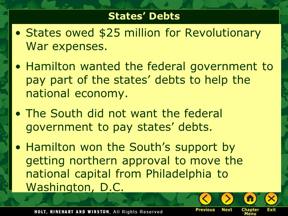 States owed $25 million for Revolutionary War expenses.