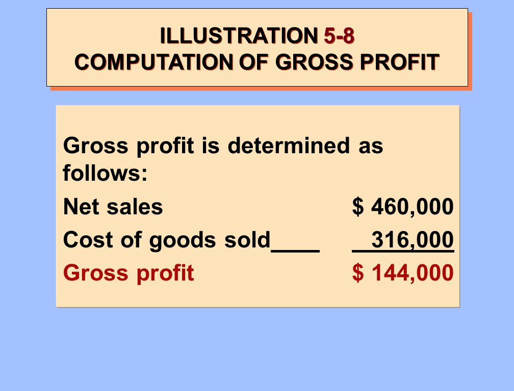 ILLUSTRATION 5-8 COMPUTATION OF GROSS PROFIT