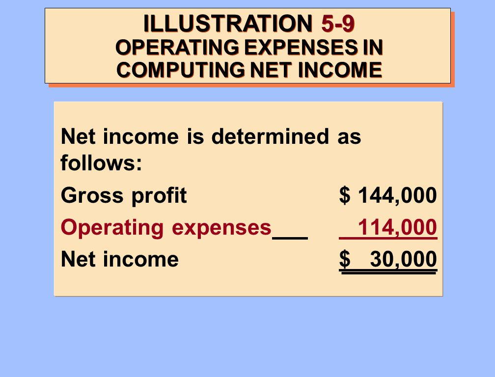ILLUSTRATION 5-9 OPERATING EXPENSES IN COMPUTING NET INCOME