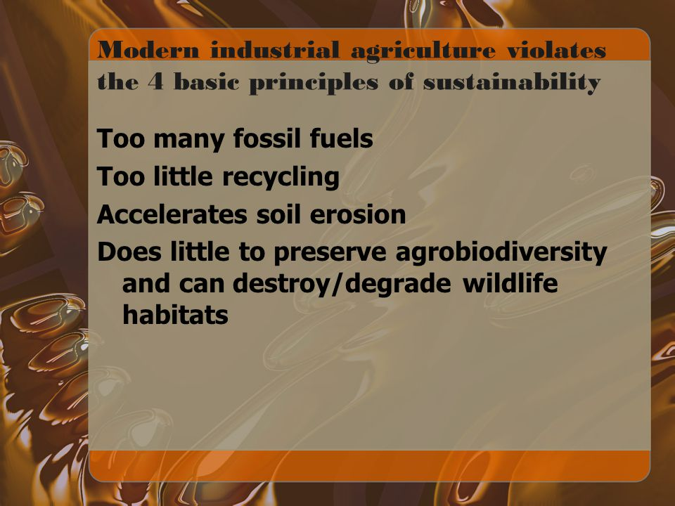 Modern industrial agriculture violates the 4 basic principles of sustainability