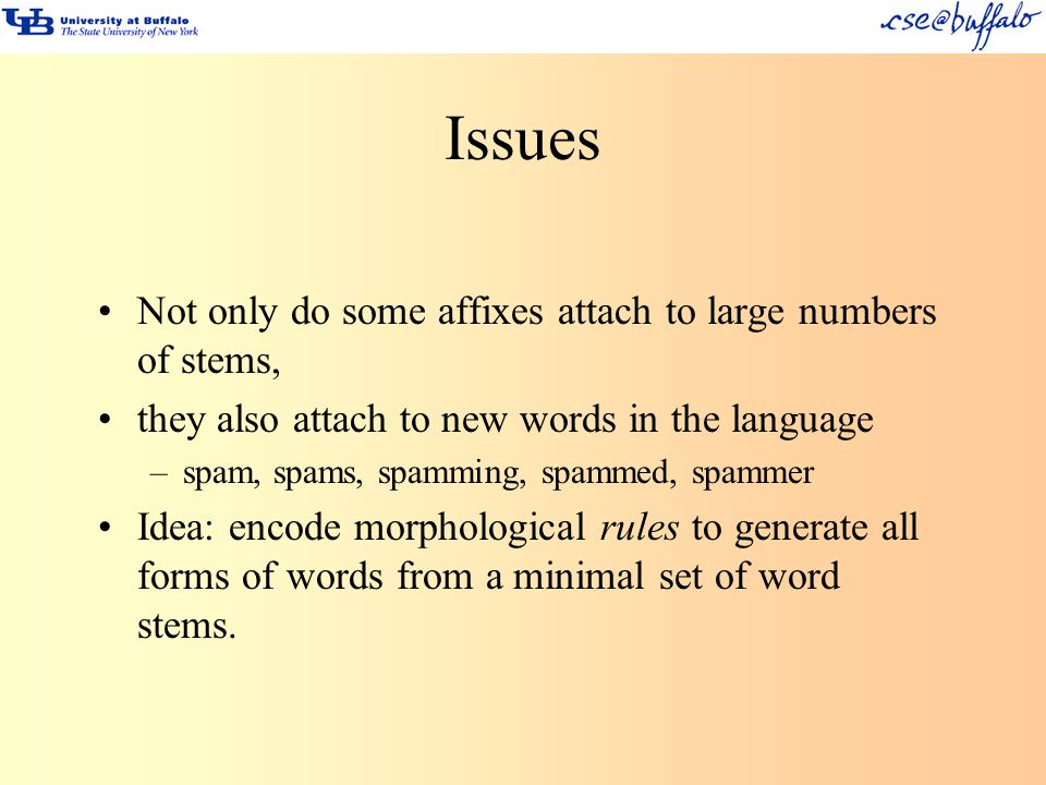 Issues Not only do some affixes attach to large numbers of stems,