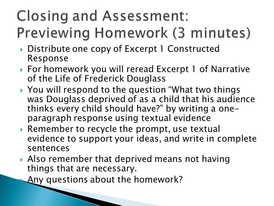 Closing and Assessment: Previewing Homework (3 minutes)