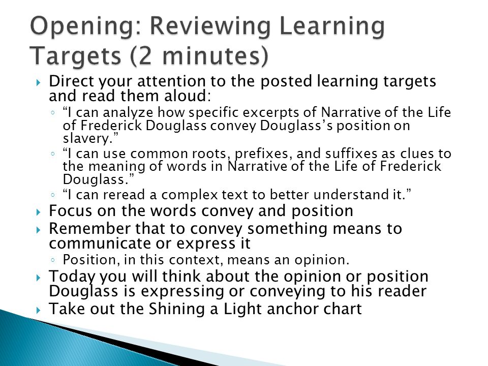 Opening: Reviewing Learning Targets (2 minutes)