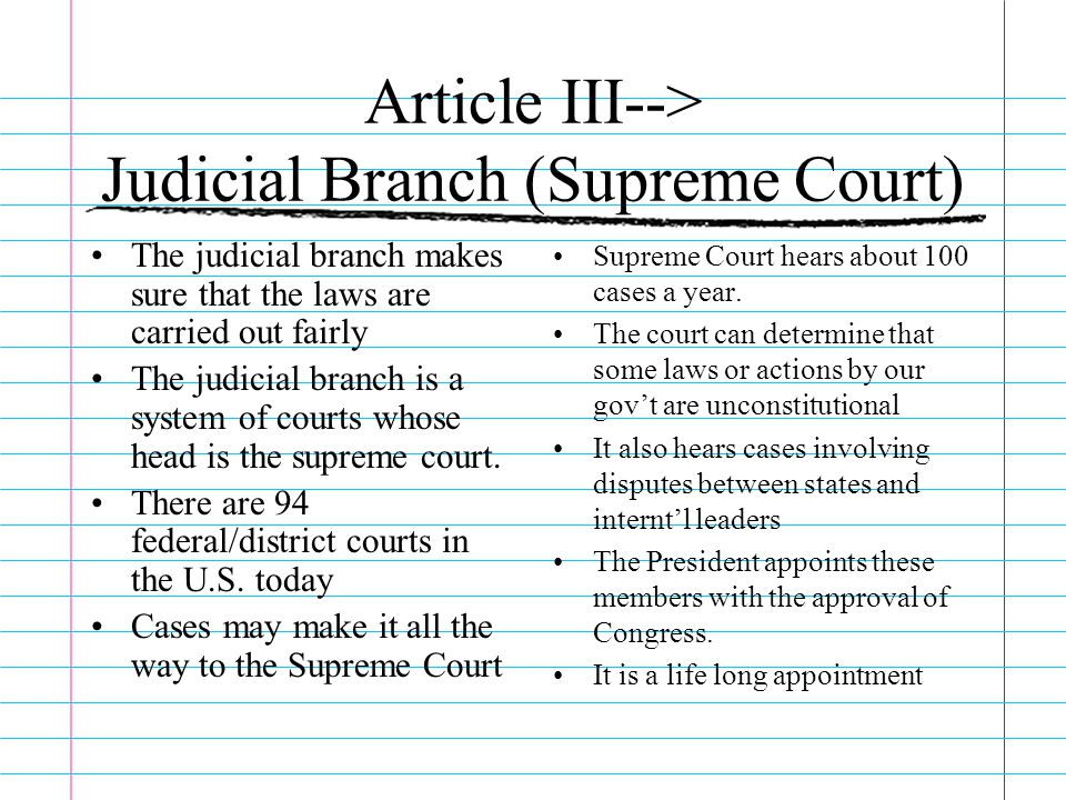 Article III--> Judicial Branch (Supreme Court)