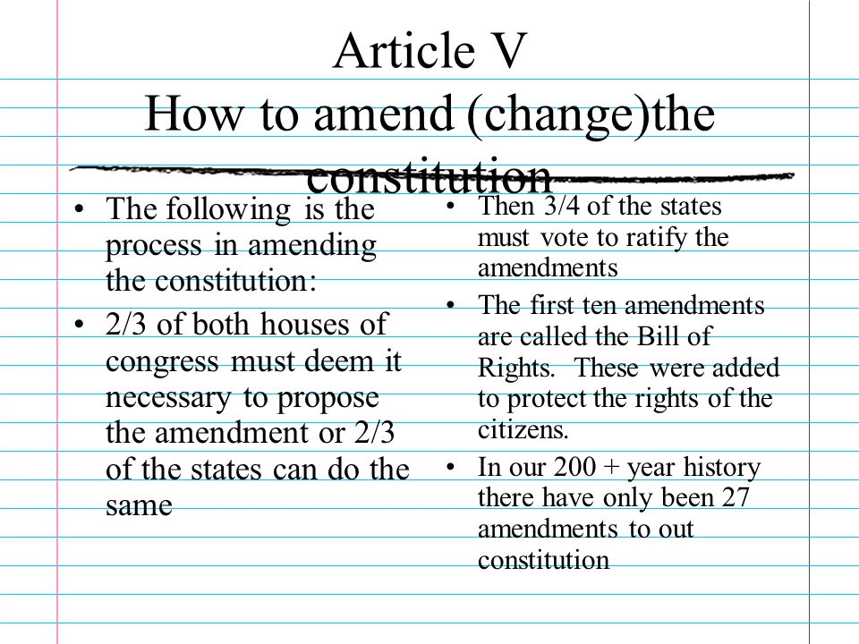 Article V How to amend (change)the constitution