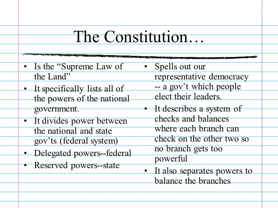 The Constitution… Is the Supreme Law of the Land