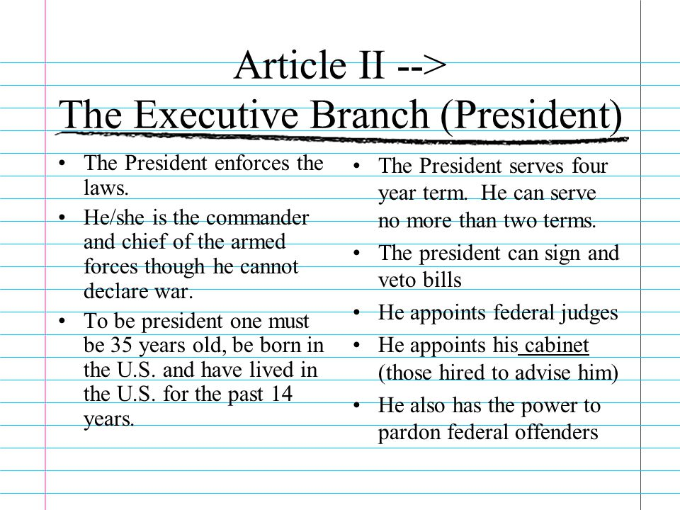 Article II --> The Executive Branch (President)