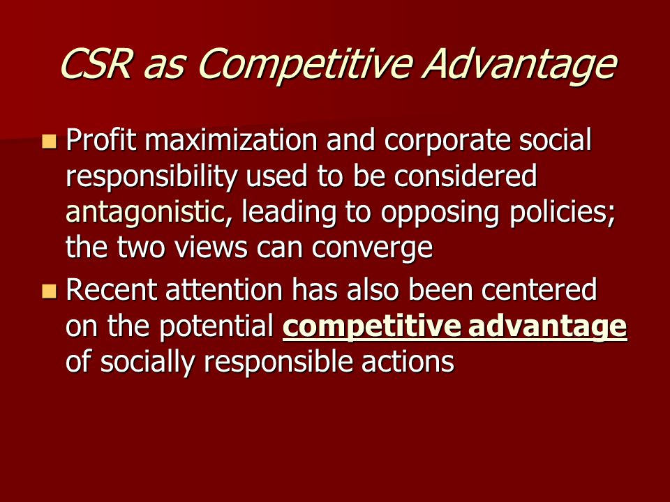 CSR as Competitive Advantage