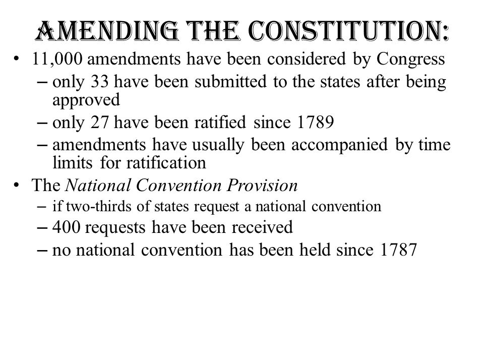 Amending the Constitution: