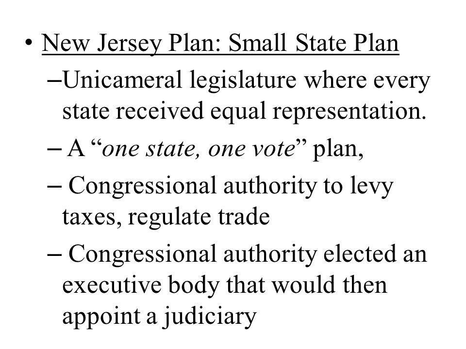 New Jersey Plan: Small State Plan