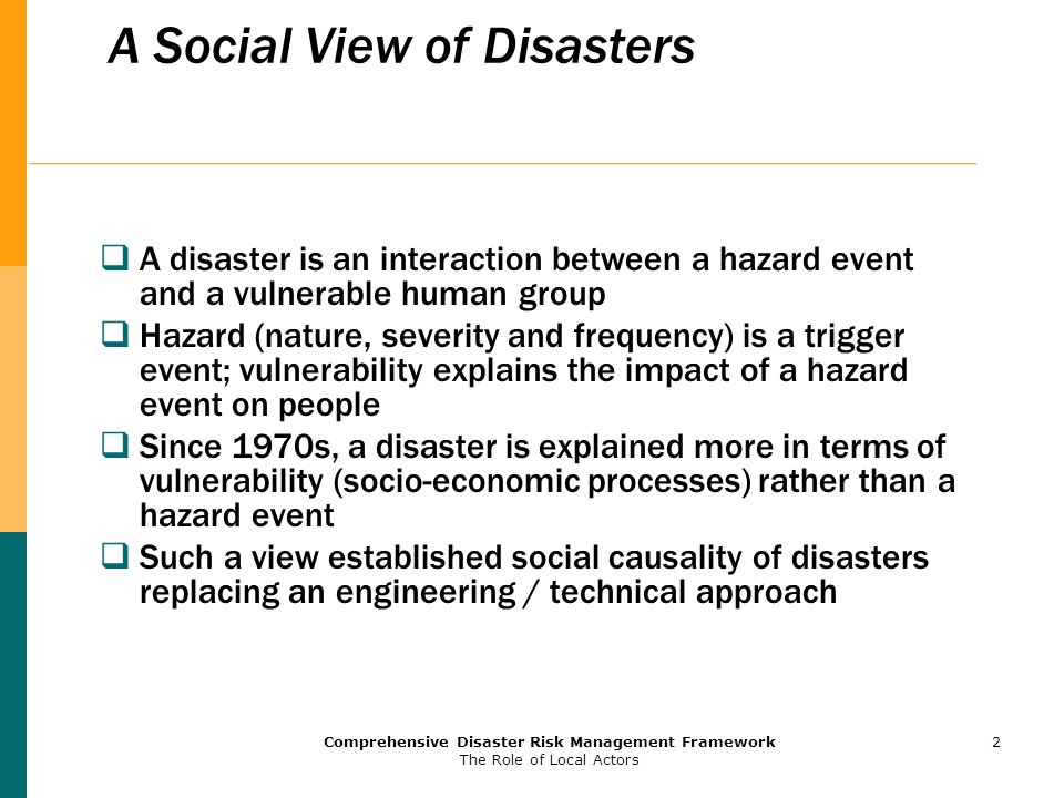 A Social View of Disasters