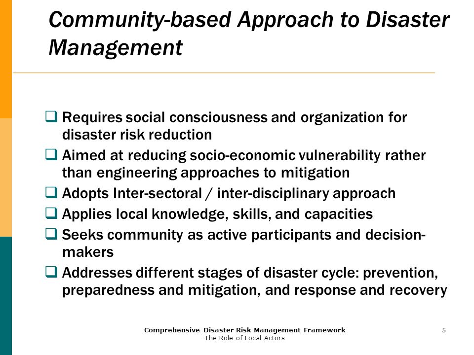 Community-based Approach to Disaster Management