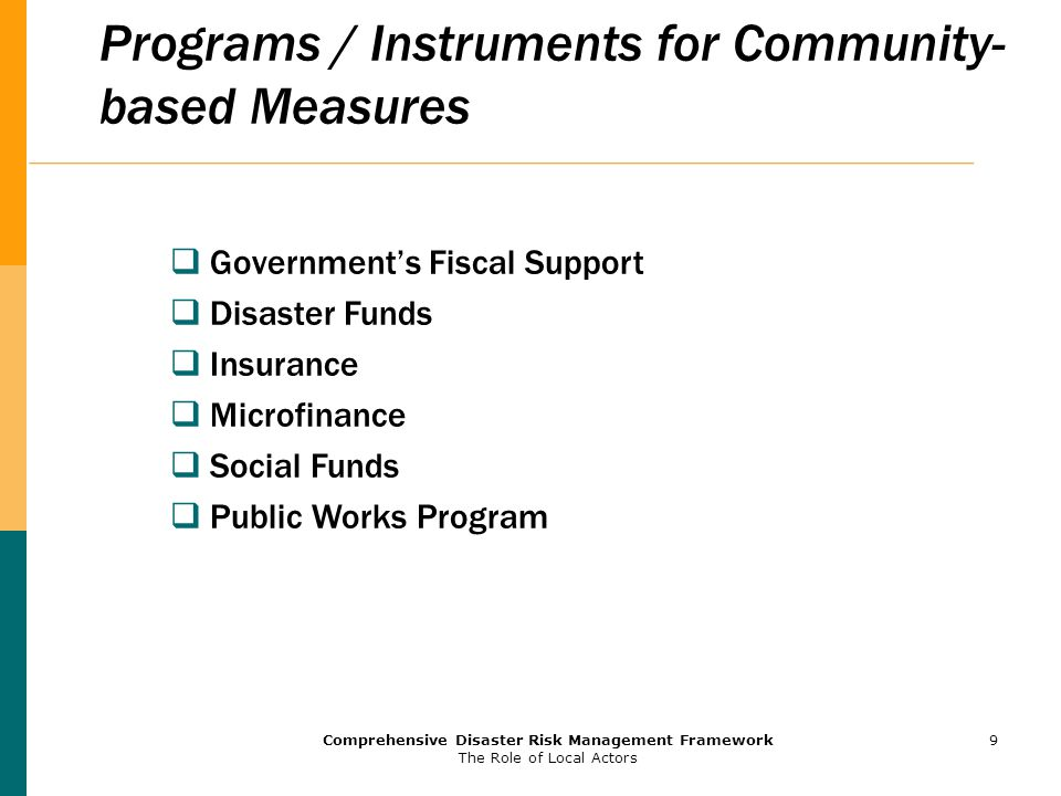 Programs / Instruments for Community-based Measures