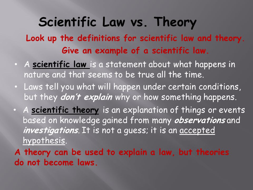 compare and contrast scientific theory and scientific law