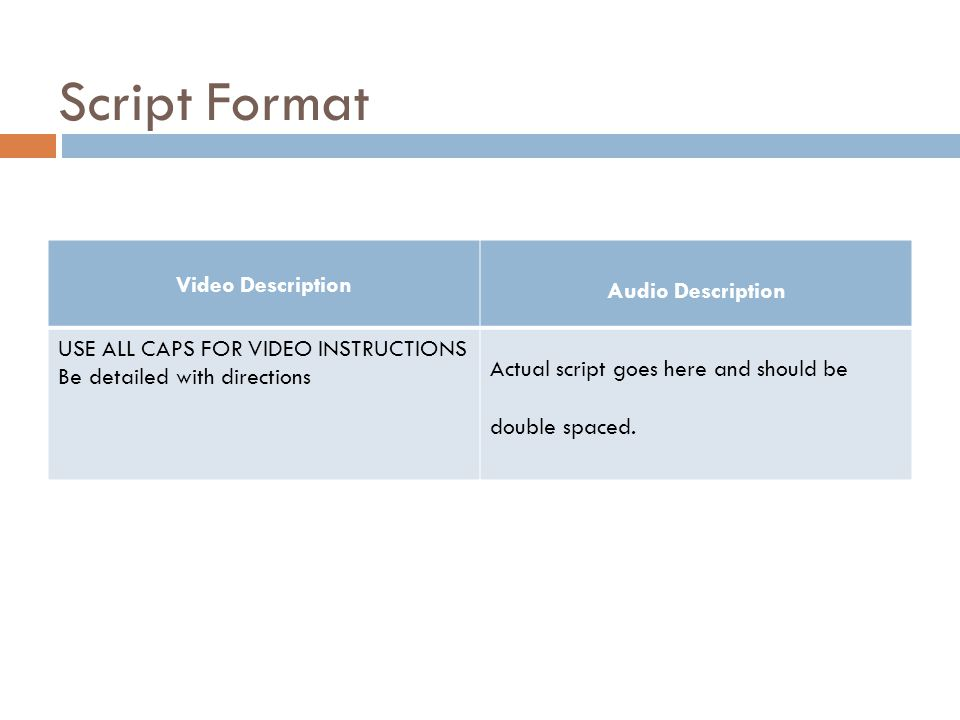 Script Format Video Description Audio Description