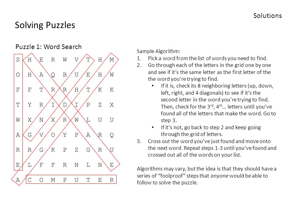 Solving Puzzles Solutions Puzzle 1 Word Search Sample Algorithm