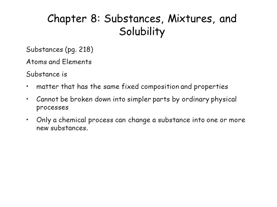 Chapter 8 Substances Mixtures And Solubility Ppt Video