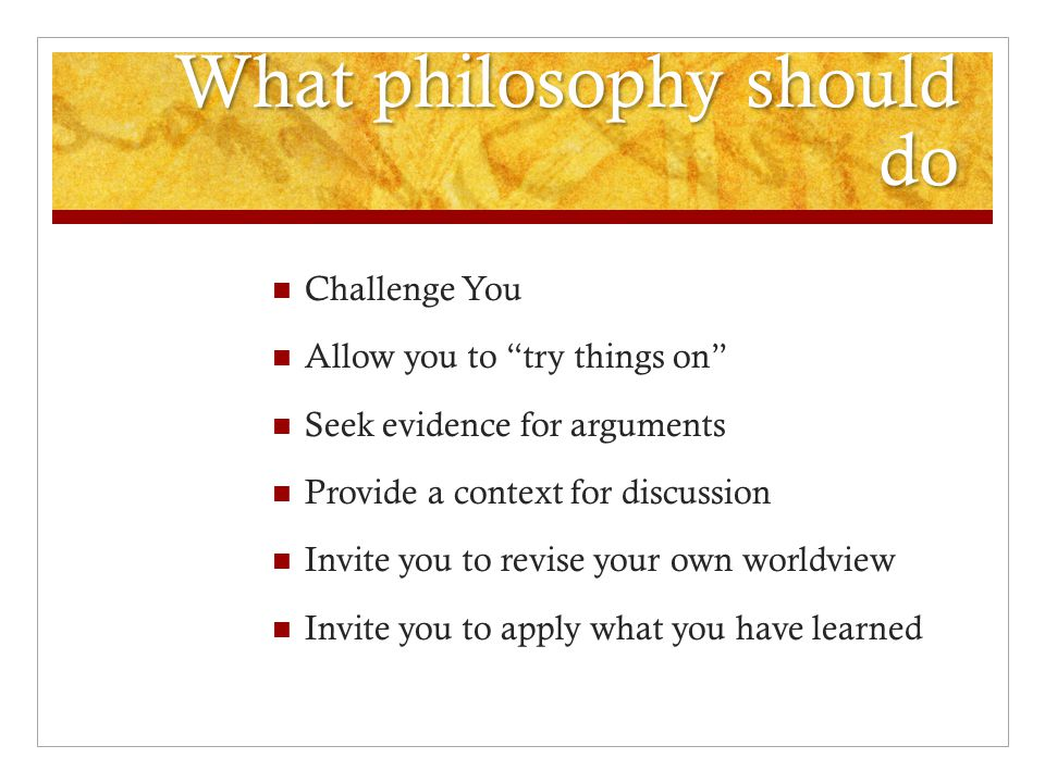What philosophy should do