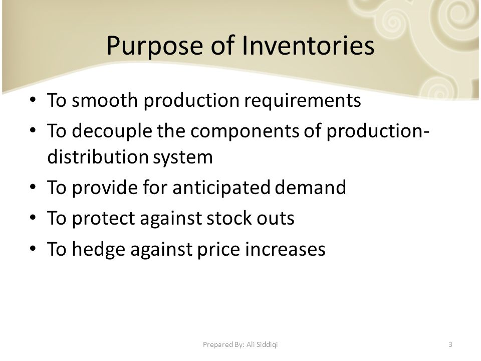 purpose of inventory management
