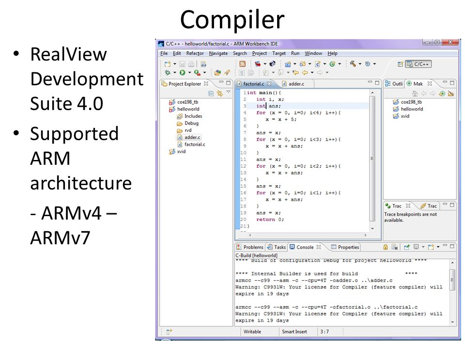 Compiler RealView Development Suite 4.0 Supported ARM architecture