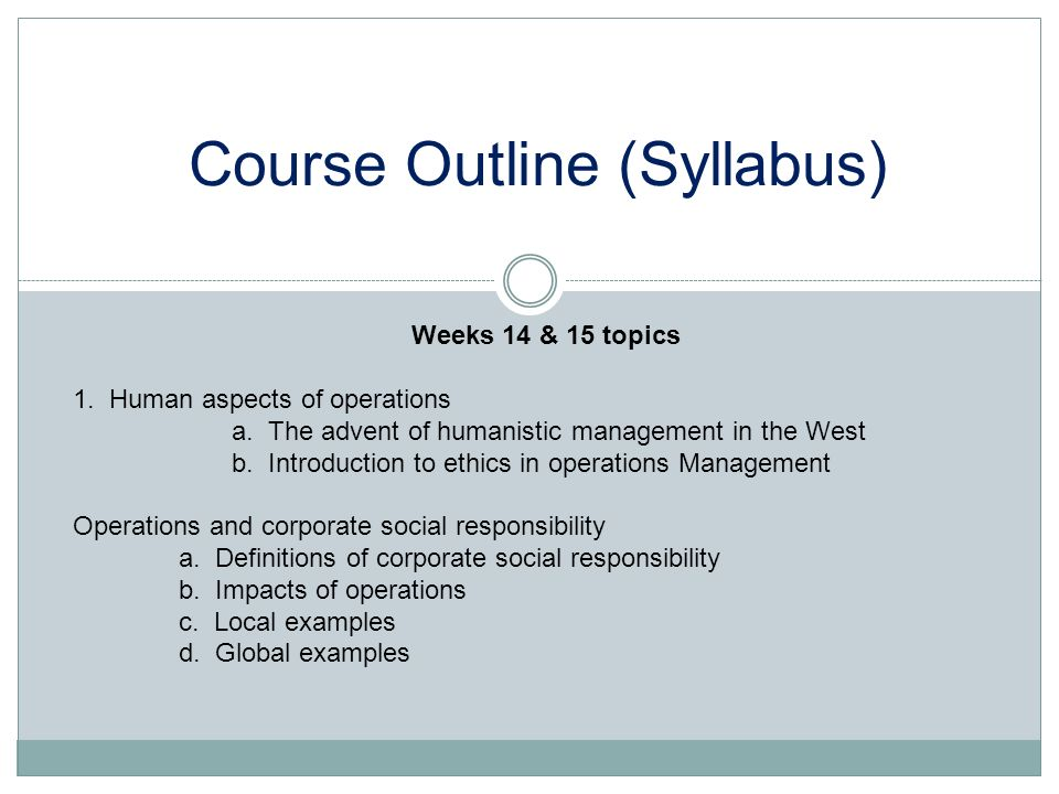 Course Outline (Syllabus)