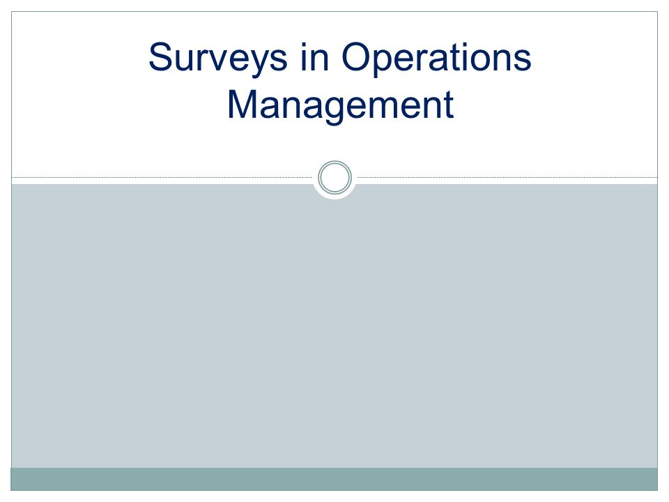 Surveys in Operations Management