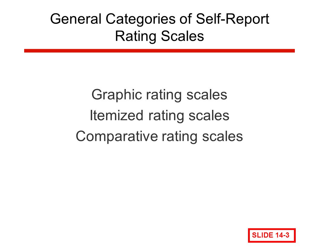 General Categories of Self-Report Rating Scales