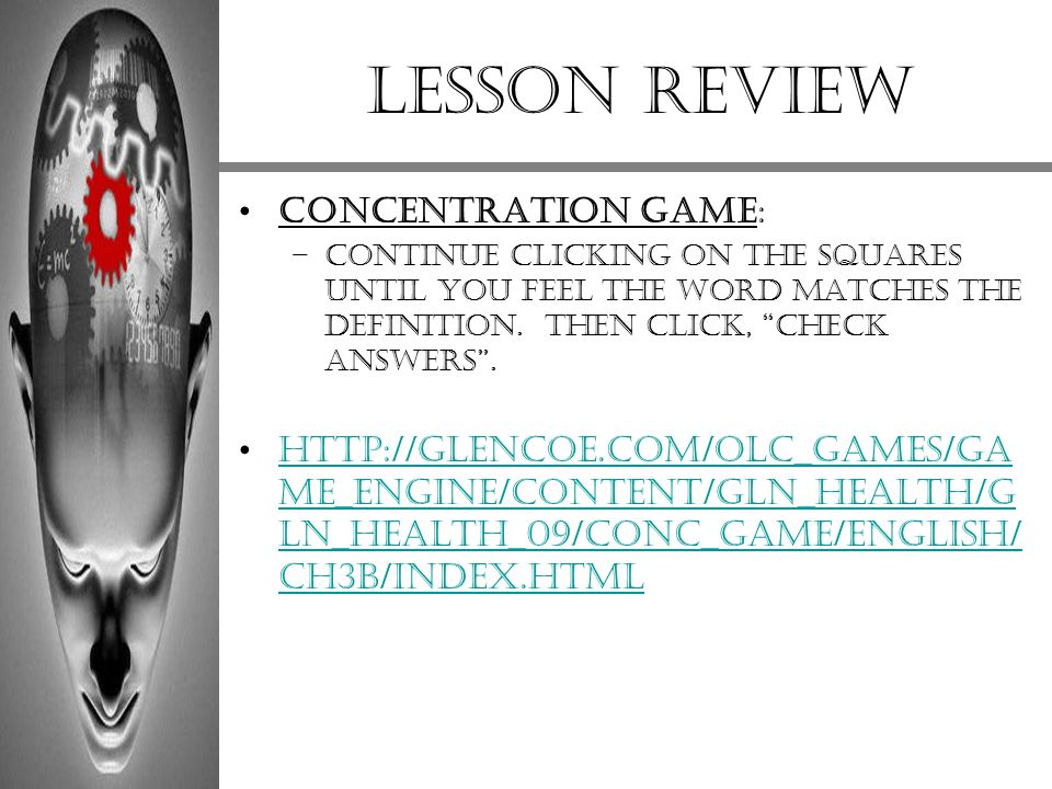 Lesson review Concentration Game: