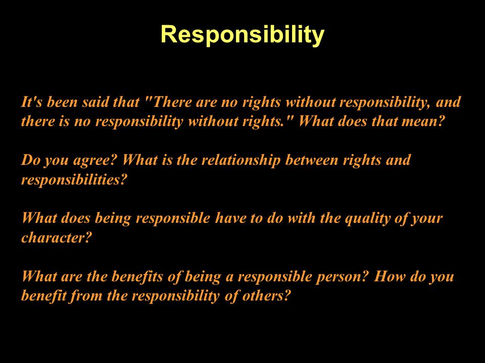 being a responsible person