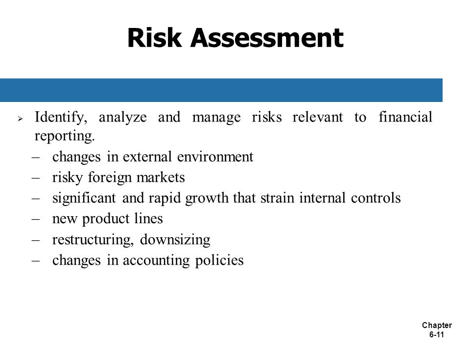 Risk Assessment Identify, analyze and manage risks relevant to financial reporting. changes in external environment.