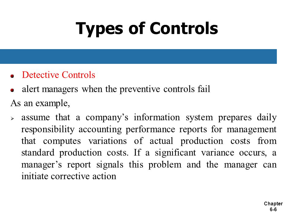 Types of Controls Detective Controls