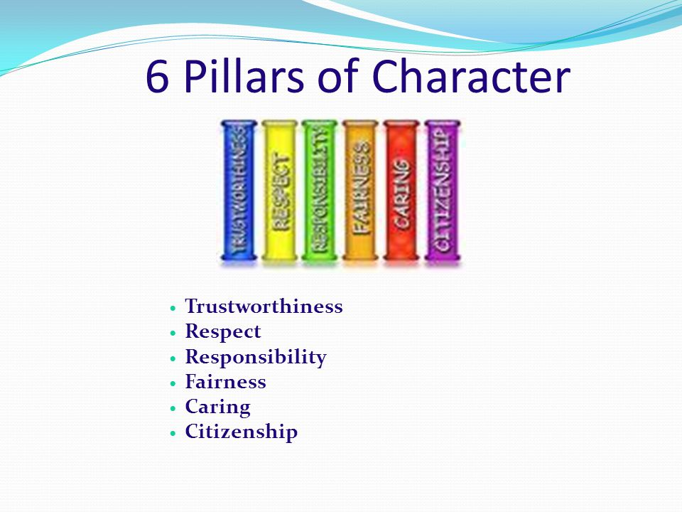 6 Pillars of Character Trustworthiness Respect Responsibility Fairness