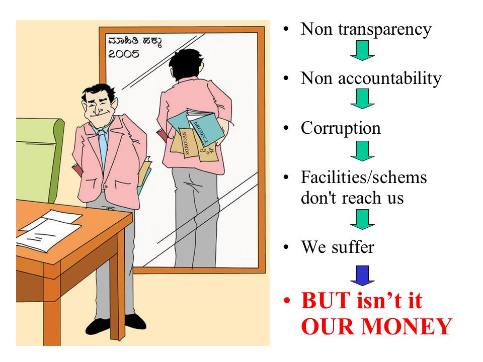 BUT isn't it OUR MONEY Non transparency Non accountability Corruption