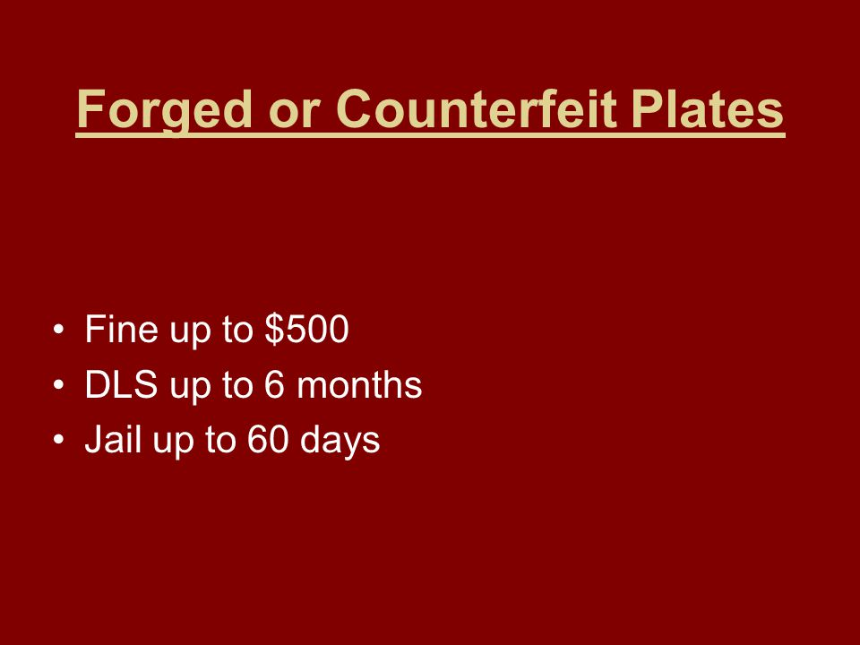 Forged or Counterfeit Plates